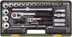 Proxxon Steckschlüsselsatz mit Knüppelratschen 1-4 Zoll und 1-2 Zoll, 65-teilig